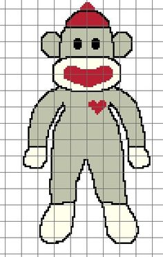 Sock Monkey Crochet Graph/Chart Pattern
