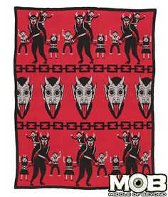 Product in Stock Ships in 1-2 Days Krampus Blanket 63 inches x 63 inches Jacquard Knit 60% Cotton 40% Acrylic blend