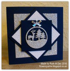 Flower Sparkle: Deer & Trees Ornament Christmas Cards