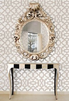 Moroccan Stencil Zamira Allover - Short - reusable wall stencil patterns for walls instead of wallpaper - DIY decor - Stenciling Decor, Home Diy, Stencils Wall, Furniture, Interior, Home Decor, House Interior, Moroccan Stencil, Home Deco