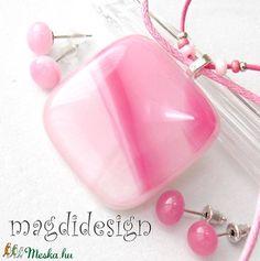 Málnás rózsaszín üvegékszer szett, nyaklánc, 2 pár fülbevaló (magdidesign) - Meska.hu Techno, Techno Music