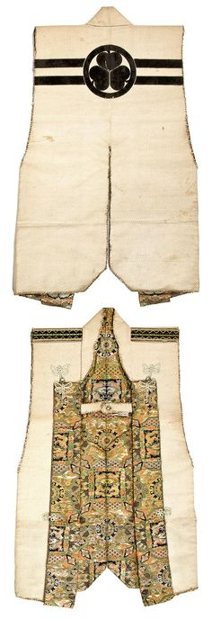 Tokugawa Jinbaori (surcoat). 19th century White cotton coat cut with straight sleeve openings and applied with a black-velvet Tokugawa family crest on two horizontal bands on the reverse, the epaulets black velvet with gold and green stitching and the facing and interior brocade designed with confronted dragons, phoenixes and floral roundels
