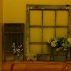 Some people's junk makes cute rustic decor.. Old window found behind garage and washboard bought at rummage sale for $2.