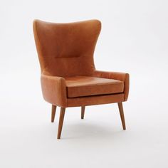 Erik Chair Leather Wing Chair, Leather, Sienna