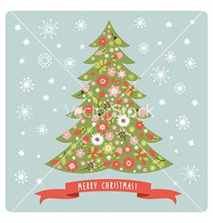 Christmas tree with flowers vector - by Lenlis on VectorStock®