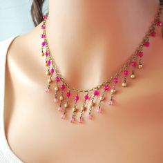 Glass Bib Necklace Antiqued Brass Chain Hot Pink by LivEveryDay, $55.00