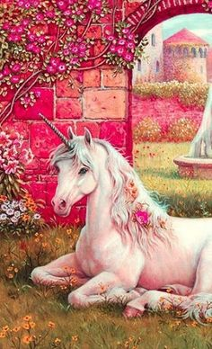 This reminds me of my unicorn statue on my alter among my crystals and faeries. Unicorn And Fairies, Unicorn Fantasy, Real Unicorn, Unicorn Horse, Unicorns And Mermaids, Unicorn Art, Magical Unicorn, Rainbow Unicorn, Beautiful Unicorn