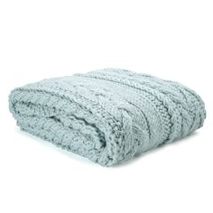 Elsham Chunky Knit Extra Large Blanket in Duck Egg Blue, Laura Ashley <3
