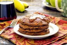 Easy paleo and gluten-free recipe for banana-carrot pancakes made with ripe bananas and fresh grated carrots. No added sugars! Tastes like carrot cake!