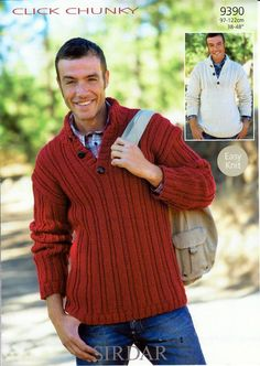 Sirdar Pattern 9390: Quick and easy men's knits in Click Chunky