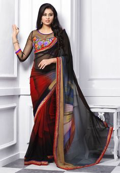 Buy Shaded Black, Red and Beige Faux Georgette saree with Blouse online, work: Printed, color: Beige / Black / Red, usage: Party, category: Sarees, fabric: Georgette, price: $44.59, item code: STN1705, gender: women, brand: Utsav