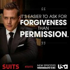 USA Network Original Series - Suits stars Patrick J. Adams as Michael Mike Ross and Gabriel Macht as Harvey Specter working at a law firm in NYC. Harvey Specter Suits, Suits Harvey, Suits Quotes Harvey, Mike Suits, Suits Show, Suits Tv Shows, Tv Quotes, Movie Quotes, Qoutes