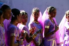 Girls of Indian ethnicity at a Hindu Festival in Georgetown,Guyana,South America