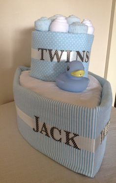 Twin baby boy boat nappy cake by HolliesNappyCakes on Etsy