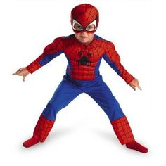 Disguise Toddler Spiderman Muscle Costume! Polyester Muscle Costume for your toddler! Fabric mask included! Muscle arms and chest! Just in time for Halloween! #spiderman #toddler #halloween #fabricmask #polyester #costume