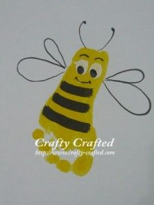 Bumblebee Footprint Craft...bee cute 2get an old white bed sheet or pillowcase cut size u want 2 frame  do the print (or prints)  display in childs room...  Teacher could do for Mothers Day gift from students 2moms!