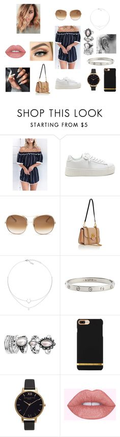 """""""Off The Shoulder Playsuit"""" by jorjarestall14 ❤ liked on Polyvore featuring Chloé, Cartier and Olivia Burton"""