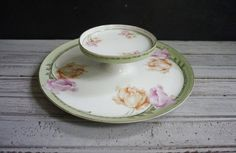 RS Germany Cheese Server by momentofnostalgia on Etsy. Home & Living  Kitchen & Dining  Dining & Serving  Trays & Platters  Trays  pink  green  coral  poppy  flowers flower  epsteam  chip dip  jewelry  display  vanity  porcelain