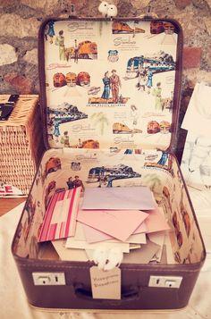 Suitcase setup for 40s themed wedding
