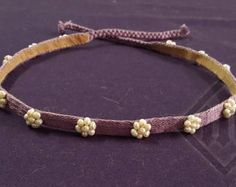 Lilac (light violet) silk tablet-woven fillet decorated with flowers made of river pearls pieces altogether). Lined with soft leather. All hand made. A perfect finish for the century style hairdo. long + of braid on each side. 14th Century Clothing, Medieval Dress Pattern, Tablet Weaving, Lady M, Medieval Costume, Headgear, Headdress, Lilac, Costumes