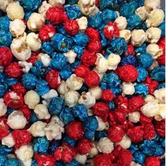 Our freshly popped gourmet red (Cherry) blue (Blueberry) and white (Cheesecake) popcorn is candy coated. This bright red white and blue popcorn is great for a mix of team or corporate colors and weddi Patriotic Desserts, 4th Of July Desserts, Fourth Of July Food, 4th Of July Celebration, Patriotic Party, 4th Of July Party, July 4th, Blue Popcorn, Popcorn Bar