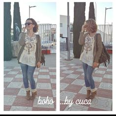 Boho jeans outfit by cuca. Boho spring style. Jeans con botin!