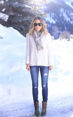 perf; distressed denim, chunky sweater and scarf