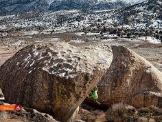 Kilian Fischhuber bouldering in Bishop