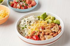 So long, traditional burrito recipes! Jump on the burrito bowl trend with this super-simple, delicious chicken variation—no tortilla required. Kraft Foods, Kraft Recipes, Chicken Burrito Bowl, Chicken Burritos, Burrito Bowls, Burrito Burrito, Chicken Fajitas, Mexican Food Recipes, Dinner Recipes