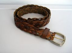 SOLD / Vintage 1970s Boho / Rocker Brown Leather Woven by VelouriaVintage, $15.00