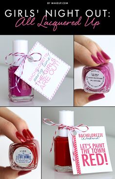 cute idea! Free printable bachelorette party nail polish favour tags