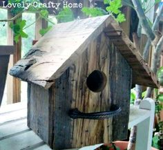 DIY Anthro Inspired Bird House. Good idea to use drawer handles for the perch