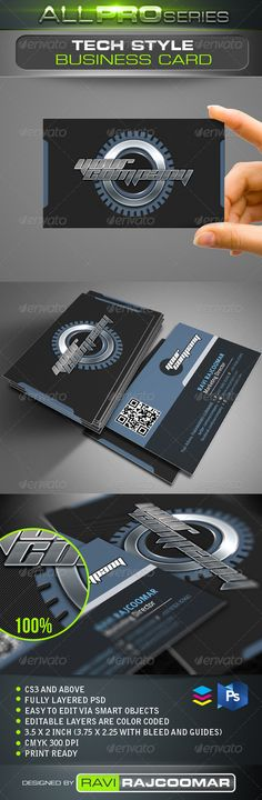 Tech Style Business Card  #GraphicRiver        Product Description CS3 and above  Fully layered  CMYK mode 300 DPI  Easy to edit via smart objects  Editable layers are color coded  3.75×2.25 inch dimension including bleed  Print ready  Help guide Included Fonts info included in the instruction file and they can be obtained for free. Very easy to customize and change your own color of choice. Thanks for your support and If you have a moment, please rate this item, I'll…
