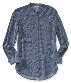 Long Sleeve Abstract Floral Woven Shirt from Aeropostale