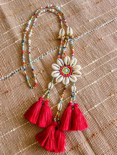 Akha Seashell Tassels Necklace/ Ethnic / Hippie / Tribal/Whole