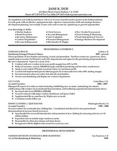 here we have a resume for a professional buyer with experience as a purchasing manager