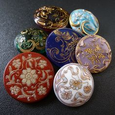 Colourful VIctorian Glass Buttons I question that these are Victorian. They are definitely Czech though. Brenda Dunlap