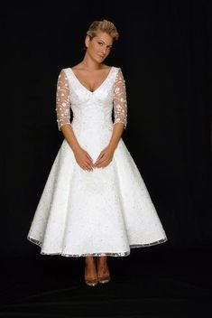 short tea length wedding dress with lace sleeves