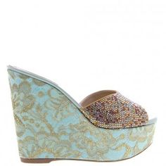 Sandales luxe RENE CAOVILLA Vert 8764 OR LACE MIX