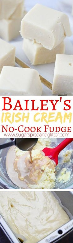 A creamy and delicious no-cook fudge made with Bailey's Irish Cream. A delicious homemade gift for Christmas or St Patrick's day treat just for grown-ups (heavy cream recipes homemade) Baileys Fudge, Chocolate Baileys, White Chocolate, Homemade Baileys, Köstliche Desserts, Delicious Desserts, Dessert Recipes, Dinner Recipes, Food Deserts