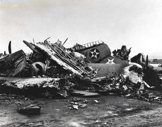 A heap of wrecked planes at Wheeler Field caused by Japanese bombings on December 7, 1941