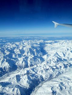 Flying over the Swiss Alps.