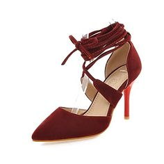 Women's+Heels+Spring+Summer+Fall+Comfort+Ankle+Strap+Fleece+Office+&+Career+Dress+Casual+Stiletto+Heel+Lace-up+Black+Red+Beige+Walking+–+AUD+$+81.78