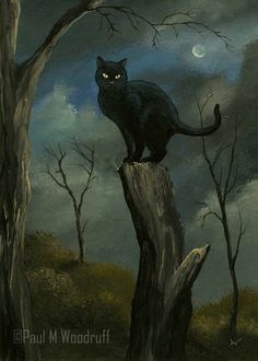 """ACEO Print """"Black Cat"""" Halloween Night Moon Spooky Art Card by Paul M Woodruff 