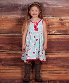 Look at this #zulilyfind! Light Blue & Red 'Love' Natalie Dress - Infant, Toddler & Girls #zulilyfinds