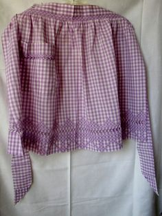 Busy hands with a practical purpose, gingham & embroidery made for great aprons   Vintage Gingham Purple Apron Drawn Thread Embroidered Cross Stitch.