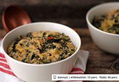 Polenta kelkáposztával Polenta, One Pot Meals, Food Inspiration, Oatmeal, Chili, Healthy Eating, Paleo, Dishes, Vegetables