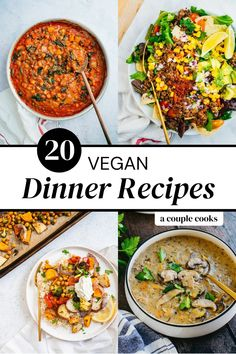 Here are the best easy vegan dinner recipes that are delicious AND filling! All dinner ideas are listed with cook time for easy planning. | dinner ideas | healthy dinner recipes | vegetarian recipes | vegan recipes | plant based recipes | salad ideas | enchiladas | tacos | curry recipes | soup recipes | stir fry recipes | #vegan #dinner #vegandinner #vegandinnerrecipes #dinnerrecipes #veganrecipes #veganrecipe #dinnerideas #vegandinnerideas Easy Vegan Dinner, Vegetarian Recipes Dinner, Vegan Dinners, Curry Recipes, Soup Recipes, Whole Food Recipes, Cooking Recipes, Vegan Recipes Plant Based, Vegan Recipes Easy
