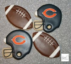 Chicago Bears Football Cookies Sugar Cookies, decorated cookies, royal icing. www.Sinful-Decadence.com
