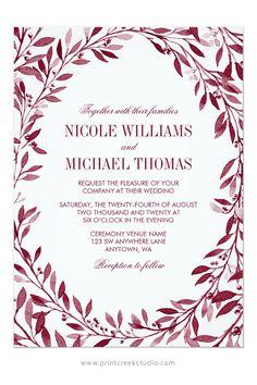Elegant burgundy watercolor laurel wreath wedding invitation. A modern design perfect for a rustic fall wedding.